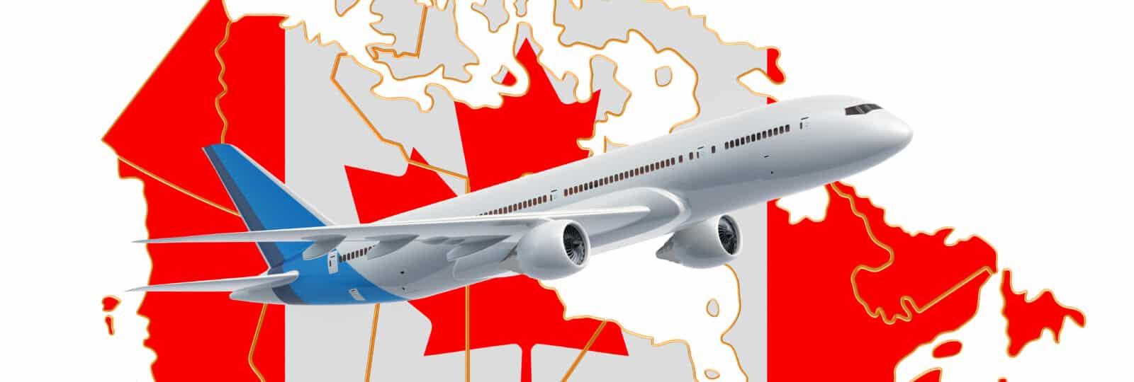 Landkarte Kanada mit Flagge und Flugzeug